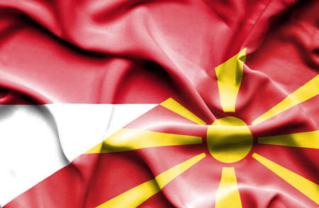 national flag indonesian flag: Waving flag of Macedonia and Indonesia Stock Photo