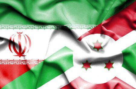 burundi: Waving flag of Burundi and Iran