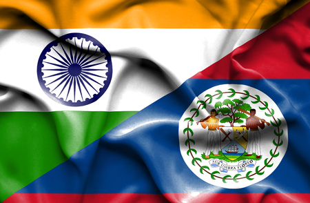 belize: Waving flag of Belize and
