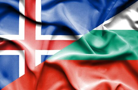 iceland: Waving flag of Bulgaria and Iceland