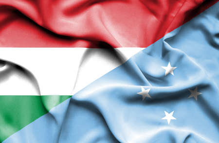micronesia: Waving flag of Micronesia and Hungary