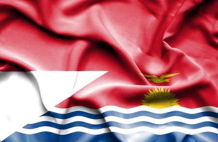 kiribati: Waving flag of Kiribati and Indonesia Stock Photo