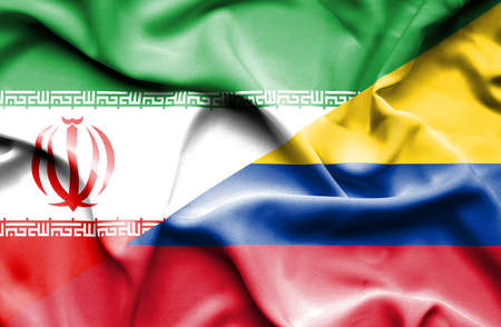 columbia: Waving flag of Columbia and Iran