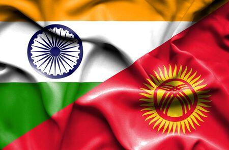 kyrgyzstan: Ondeando la bandera de Kirguistán y