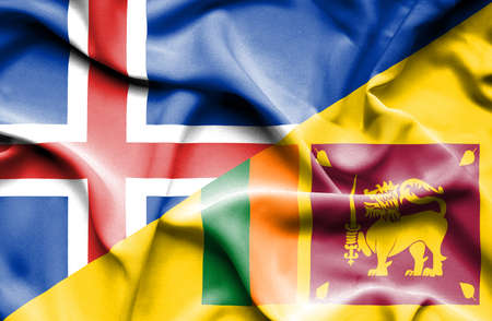 sri lankan flag: Waving flag of Sri Lanka and Iceland Stock Photo