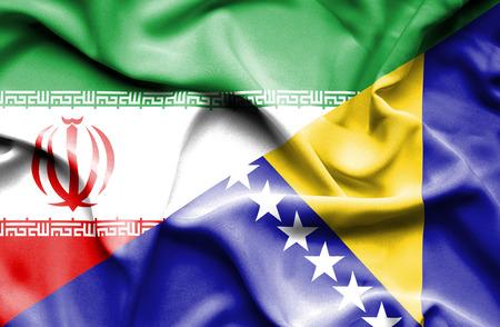 bosnia and herzegovina flag: Waving flag of Bosnia and Herzegovina and Iran