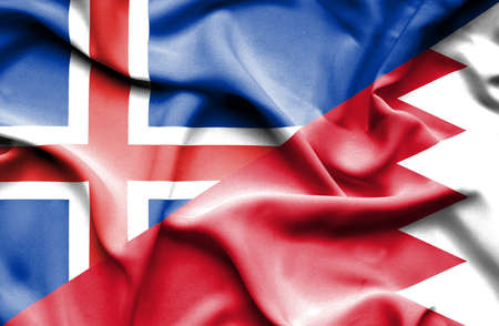 bahrain money: Waving flag of Bahrain and Iceland