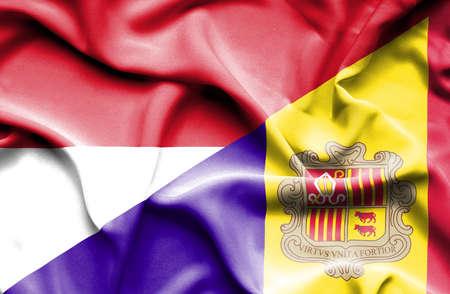 andorra: Waving flag of Andorra and Indonesia
