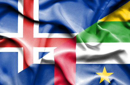 central african republic: Waving flag of Central African Republic and Iceland Stock Photo