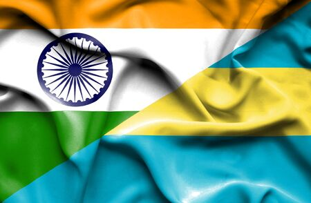 bahamas: Waving flag of Bahamas and