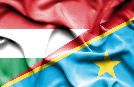 democratic: Waving flag of Congo Democratic Republic and Hungary