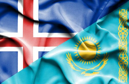 iceland: Waving flag of Kazakhstan and Iceland Stock Photo
