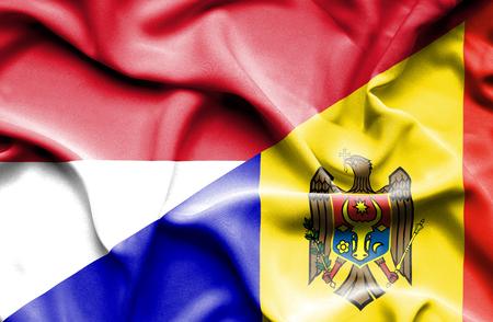 moldavia: Waving flag of Moldavia and Indonesia
