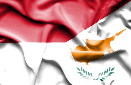 national flag indonesian flag: Waving flag of Cyprus and Indonesia