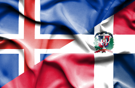 dominican republic: Waving flag of Dominican Republic and Iceland