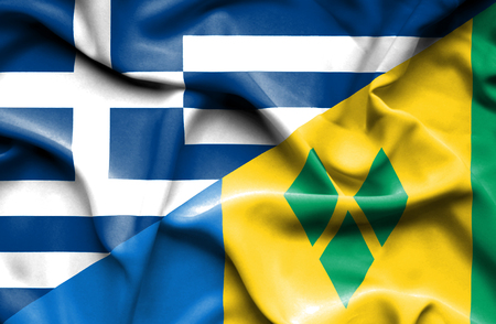 grenadines: Waving flag of Saint Vincent and Grenadines and