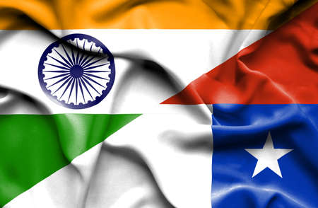 chile: Waving flag of Chile and