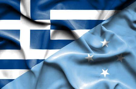 micronesia: Waving flag of Micronesia and