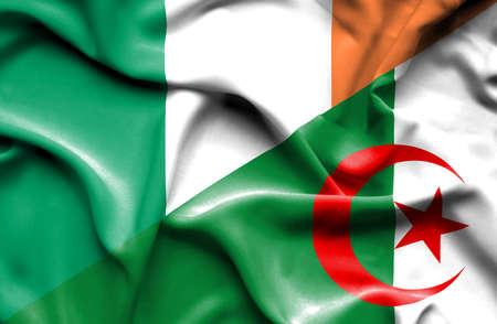 ireland flag: Waving flag of Algeria and Ireland Stock Photo
