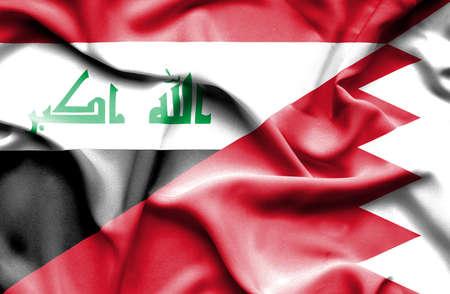 iraq war: Waving flag of Bahrain and Iraq