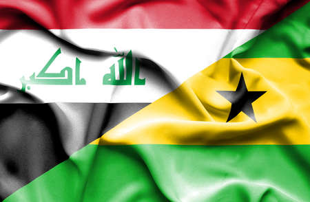 iraq conflict: Waving flag of Sao Tome and Principe and Iraq Stock Photo