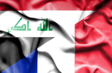 iraq conflict: Waving flag of France and Iraq