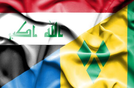 grenadines: Waving flag of Saint Vincent and Grenadines and Iraq