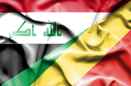 iraq conflict: Waving flag of Congo Republic and Iraq