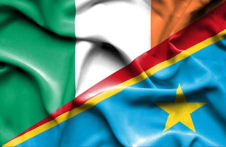 republic of ireland: Waving flag of Congo Democratic Republic and Ireland