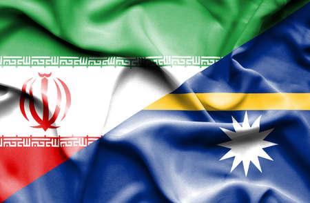 nauru: Waving flag of Nauru and Iran Stock Photo