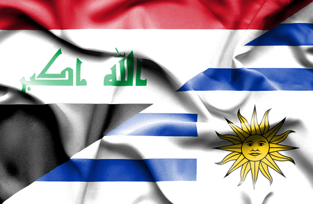 iraq conflict: Waving flag of Uruguay and Iraq Stock Photo