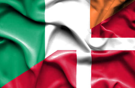 ireland flag: Waving flag of Denmark and Ireland