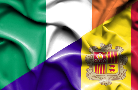 ireland flag: Waving flag of Andorra and Ireland