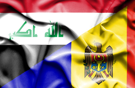 iraq money: Waving flag of Moldavia and Iraq