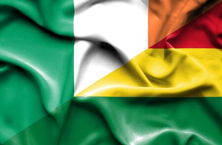 bolivia: Waving flag of Bolivia and Ireland
