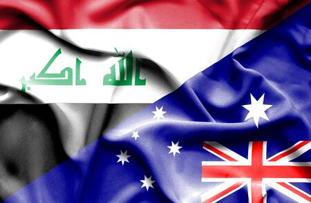 iraq money: Waving flag of Australia and Iraq Stock Photo