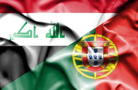 portugese: Waving flag of Portugal and Iraq