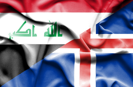 iraq money: Waving flag of Iceland and Iraq