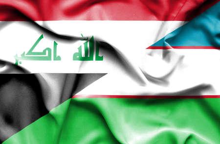 uzbekistan: Waving flag of Uzbekistan and Iraq