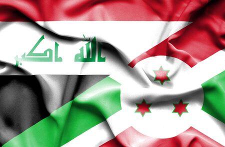iraq money: Waving flag of Burundi and Iraq Stock Photo