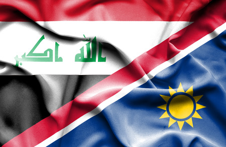 iraq conflict: Waving flag of Namibia and Iraq