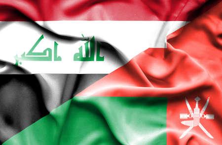 iraq conflict: Waving flag of Oman and Iraq