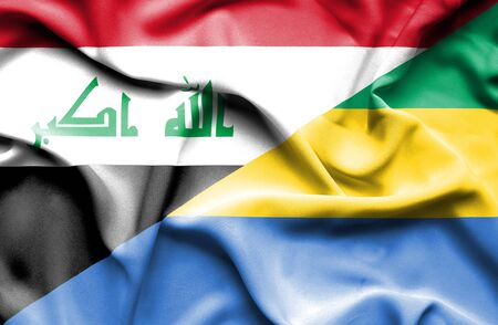 iraq money: Waving flag of Gabon and Iraq Stock Photo