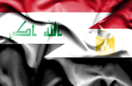 iraq conflict: Waving flag of Egypt and Iraq Stock Photo