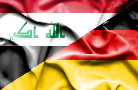 iraq conflict: Waving flag of Germany and Iraq