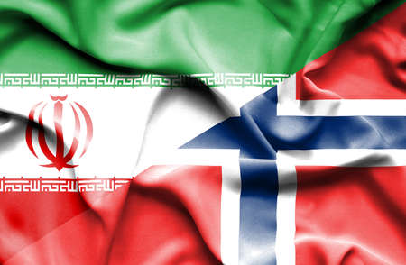 norway flag: Waving flag of Norway and Iran