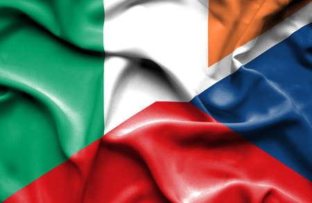 republic of ireland: Waving flag of Czech Republic and Ireland