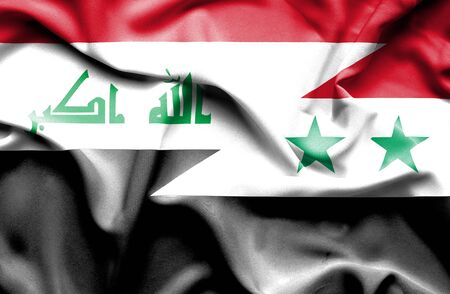 iraq conflict: Waving flag of Syria and Iraq