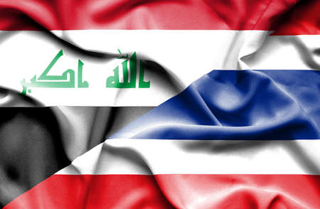 iraq conflict: Waving flag of Thailand and Iraq Stock Photo