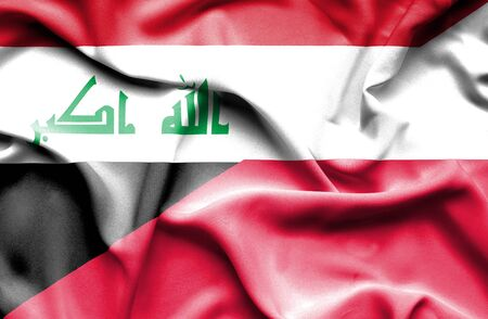 iraq conflict: Waving flag of Poland and Iraq